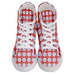 Circles1 White Marble & Red Brushed Metal Men s Hi Top Skate Sneakers