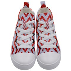 Chevron9 White Marble & Red Brushed Metal (r) Kid s Mid Top Canvas Sneakers