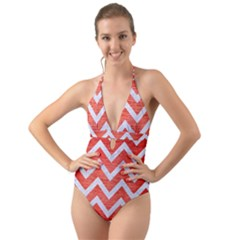 Chevron9 White Marble & Red Brushed Metal Halter Cut Out One Piece Swimsuit by trendistuff