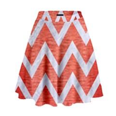 Chevron9 White Marble & Red Brushed Metal High Waist Skirt by trendistuff