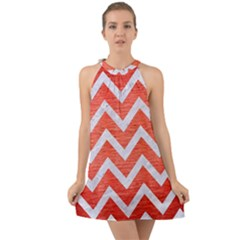 Chevron9 White Marble & Red Brushed Metal Halter Tie Back Chiffon Dress