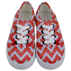 Chevron9 White Marble & Red Brushed Metal Kids  Classic Low Top Sneakers