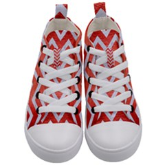 Chevron9 White Marble & Red Brushed Metal Kid s Mid Top Canvas Sneakers