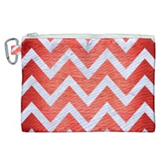Chevron9 White Marble & Red Brushed Metal Canvas Cosmetic Bag (xl)