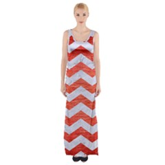 Chevron3 White Marble & Red Brushed Metal Maxi Thigh Split Dress by trendistuff