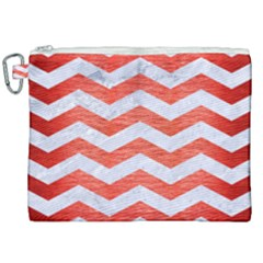 Chevron3 White Marble & Red Brushed Metal Canvas Cosmetic Bag (xxl) by trendistuff