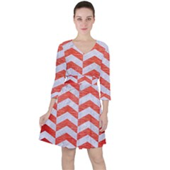 Chevron2 White Marble & Red Brushed Metal Ruffle Dress