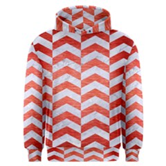 Chevron2 White Marble & Red Brushed Metal Men s Overhead Hoodie