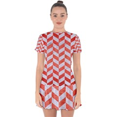 Chevron1 White Marble & Red Brushed Metal Drop Hem Mini Chiffon Dress
