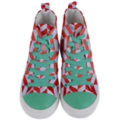 Chevron1 White Marble & Red Brushed Metal Women s Mid Top Canvas Sneakers