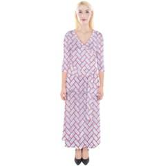 Brick2 White Marble & Red Brushed Metal (r) Quarter Sleeve Wrap Maxi Dress