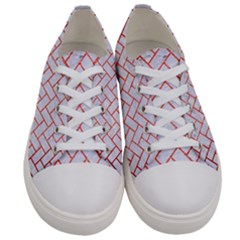 Brick2 White Marble & Red Brushed Metal (r) Women s Low Top Canvas Sneakers