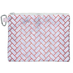 Brick2 White Marble & Red Brushed Metal (r) Canvas Cosmetic Bag (xxl) by trendistuff