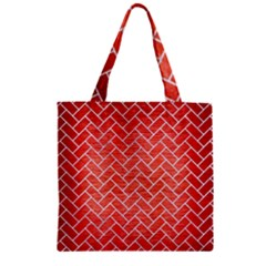 Brick2 White Marble & Red Brushed Metal Zipper Grocery Tote Bag by trendistuff