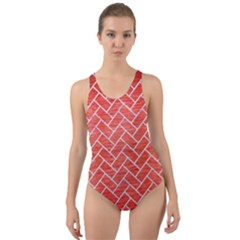 Brick2 White Marble & Red Brushed Metal Cut Out Back One Piece Swimsuit