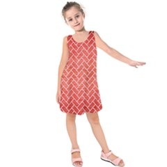 Brick2 White Marble & Red Brushed Metal Kids  Sleeveless Dress by trendistuff