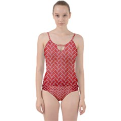 Brick2 White Marble & Red Brushed Metal Cut Out Top Tankini Set