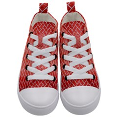 Brick2 White Marble & Red Brushed Metal Kid s Mid Top Canvas Sneakers