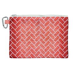 Brick2 White Marble & Red Brushed Metal Canvas Cosmetic Bag (xl) by trendistuff
