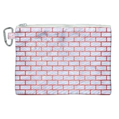 Brick1 White Marble & Red Brushed Metal (r) Canvas Cosmetic Bag (xl) by trendistuff