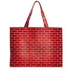 Brick1 White Marble & Red Brushed Metal Zipper Mini Tote Bag by trendistuff