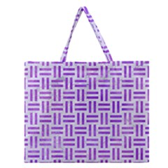 Woven1 White Marble & Purple Watercolor (r) Zipper Large Tote Bag