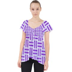 Woven1 White Marble & Purple Watercolor (r) Lace Front Dolly Top