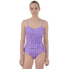 Woven1 White Marble & Purple Watercolor (r) Sweetheart Tankini Set