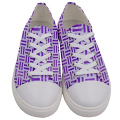 Woven1 White Marble & Purple Watercolor (r) Women s Low Top Canvas Sneakers