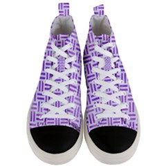 Woven1 White Marble & Purple Watercolor (r) Men s Mid Top Canvas Sneakers