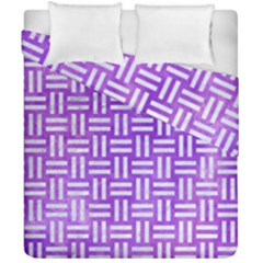 Woven1 White Marble & Purple Watercolor Duvet Cover Double Side (california King Size) by trendistuff