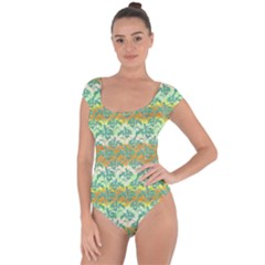 Colorful Tropical Print Pattern Short Sleeve Leotard  by dflcprints