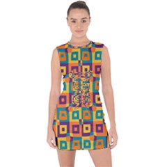 Artwork By Patrick Squares 4 Lace Up Front Bodycon Dress
