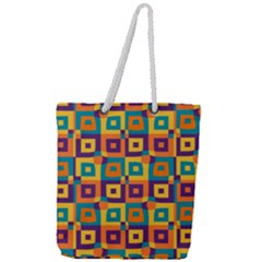 Artwork By Patrick Squares 4 Full Print Rope Handle Tote (large)