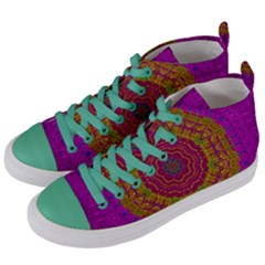 Summer Sun Shine In A Sunshine Mandala Women s Mid Top Canvas Sneakers by pepitasart
