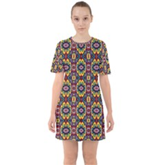 Artwork By Patrick Squares 5 Sixties Short Sleeve Mini Dress