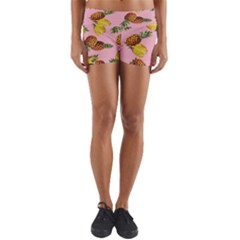 Pineapple Print Yoga Shorts