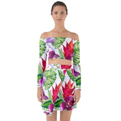 Vector Pattern Tropical Off Shoulder Top With Skirt Set