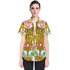 Traditional Thai Style Painting Women s Short Sleeve Shirt