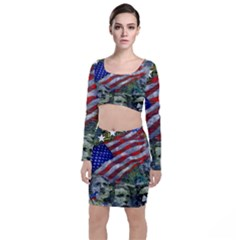 Usa United States Of America Images Independence Day Long Sleeve Crop Top & Bodycon Skirt Set