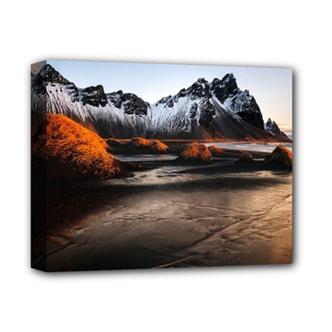 Vestrahorn Iceland Winter Sunrise Landscape Sea Coast Sandy Beach Sea Mountain Peaks With Snow Blue Deluxe Canvas 14  X 11  by Sapixe