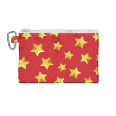 Yellow Stars Red Background Pattern Canvas Cosmetic Bag (medium) by Sapixe