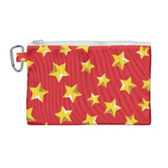 Yellow Stars Red Background Pattern Canvas Cosmetic Bag (large)