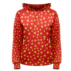 Yellow Stars Red Background Women s Pullover Hoodie