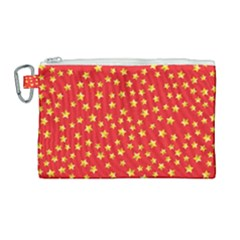 Yellow Stars Red Background Canvas Cosmetic Bag (large) by Sapixe