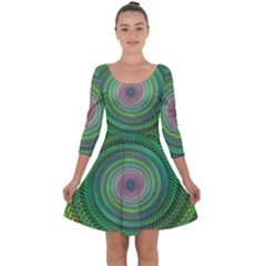 Wire Woven Vector Graphic Quarter Sleeve Skater Dress