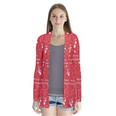 Santa Christmas Collage Drape Collar Cardigan by Sapixe