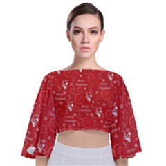 Santa Christmas Collage Tie Back Butterfly Sleeve Chiffon Top