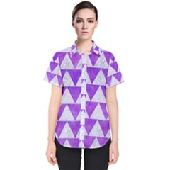 Triangle2 White Marble & Purple Watercolor Women s Short Sleeve Shirt