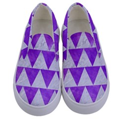 Triangle2 White Marble & Purple Watercolor Kids  Canvas Slip Ons